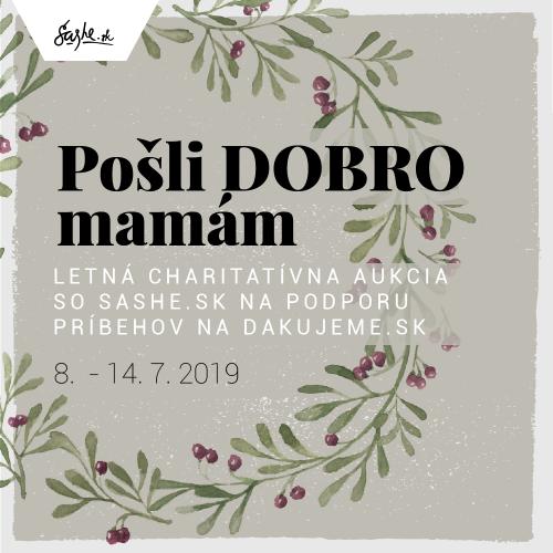 DOBROčinná aukcia so SAShE.sk a Pošli DOBRO ďalej
